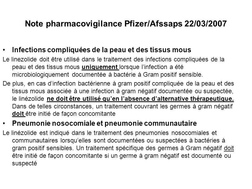 Note pharmacovigilance Pfizer/Afssaps 22/03/2007 Infections compliquées de la peau et des tissus mous Le linezolide doit être utilisé dans le traiteme
