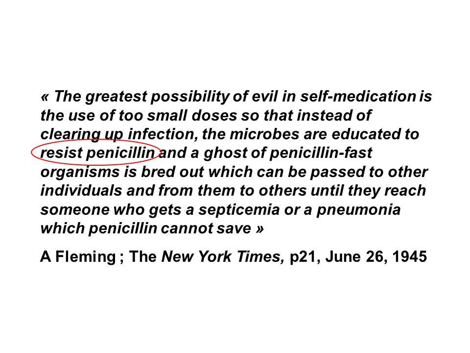 Antibiotiques 1941-1960 Pénicilline G Na Pénicilline V Amino glycosides : Streptomycine Tétracyclines Macrolides Phénicolés (chloramphénicol-thiamphénicol) Polypeptides (colimycine) les résistances apparaissent