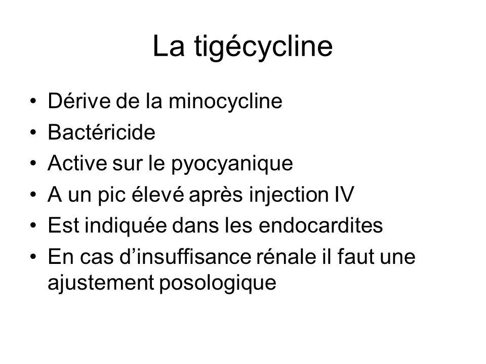 La tigécycline Dérive de la minocycline Bactéricide Active sur le pyocyanique A un pic élevé après injection IV Est indiquée dans les endocardites En cas dinsuffisance rénale il faut une ajustement posologique