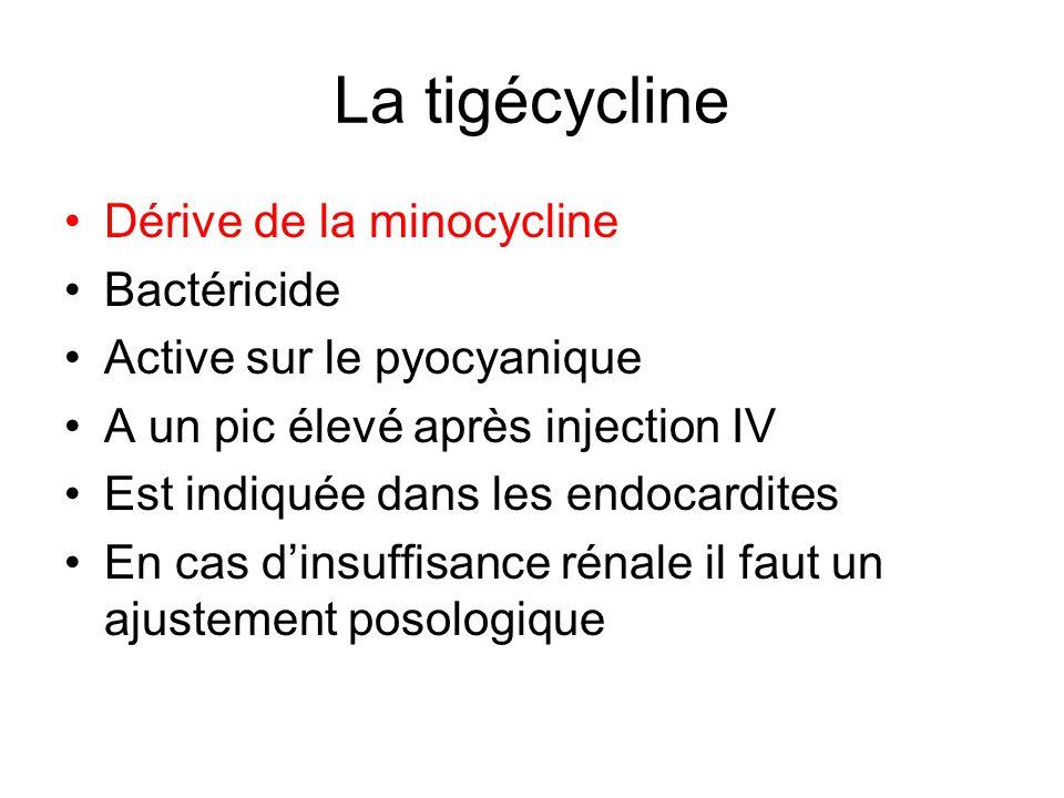 La tigécycline Dérive de la minocycline Bactéricide Active sur le pyocyanique A un pic élevé après injection IV Est indiquée dans les endocardites En cas dinsuffisance rénale il faut un ajustement posologique