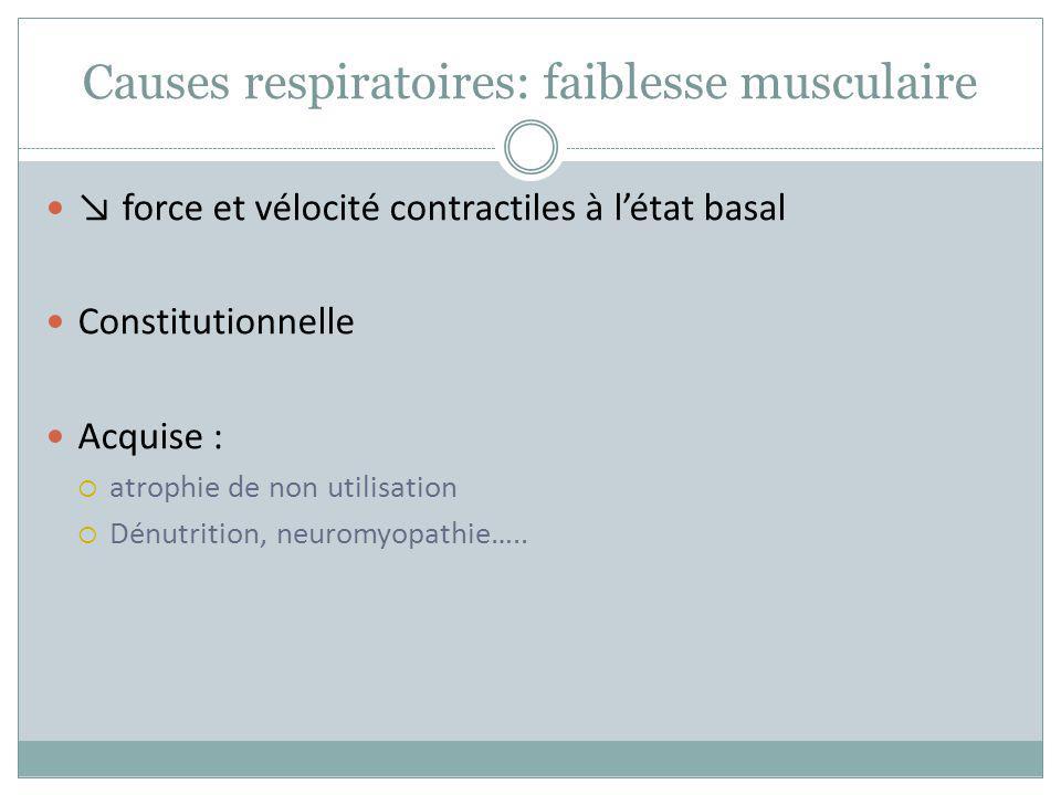 Causes respiratoires: faiblesse musculaire force et vélocité contractiles à létat basal Constitutionnelle Acquise : atrophie de non utilisation Dénutr