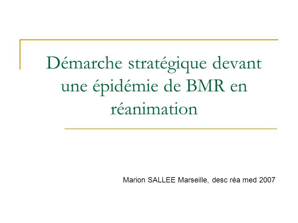 Démarche stratégique devant une épidémie de BMR en réanimation Marion SALLEE Marseille, desc réa med 2007