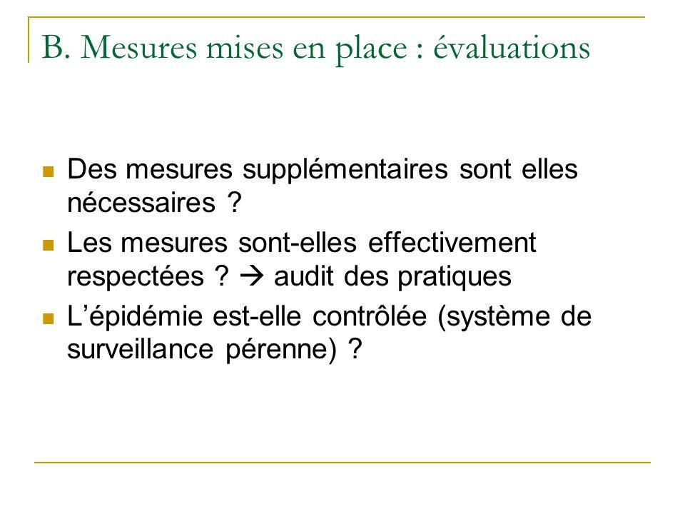B.Mesures mises en place : évaluations Des mesures supplémentaires sont elles nécessaires .