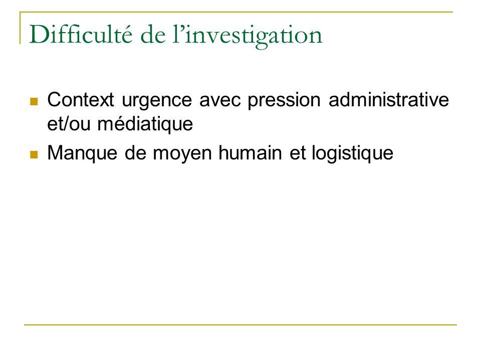 Difficulté de linvestigation Context urgence avec pression administrative et/ou médiatique Manque de moyen humain et logistique