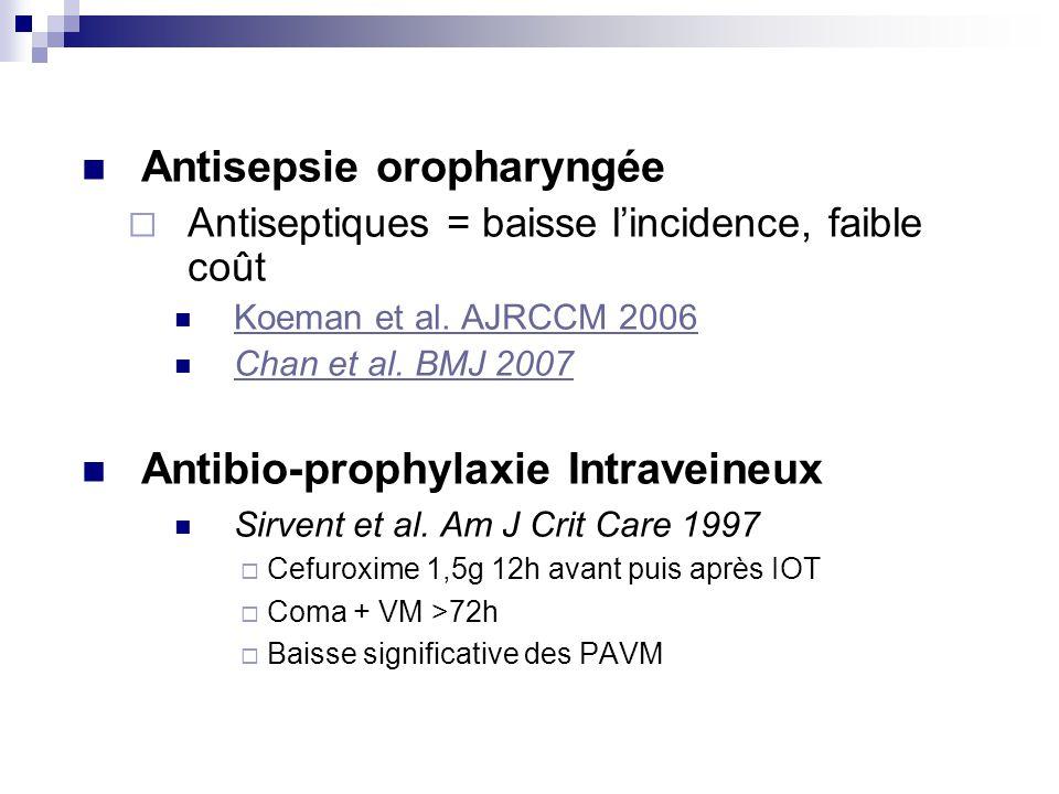Antisepsie oropharyngée Antiseptiques = baisse lincidence, faible coût Koeman et al. AJRCCM 2006 Chan et al. BMJ 2007 Antibio-prophylaxie Intraveineux