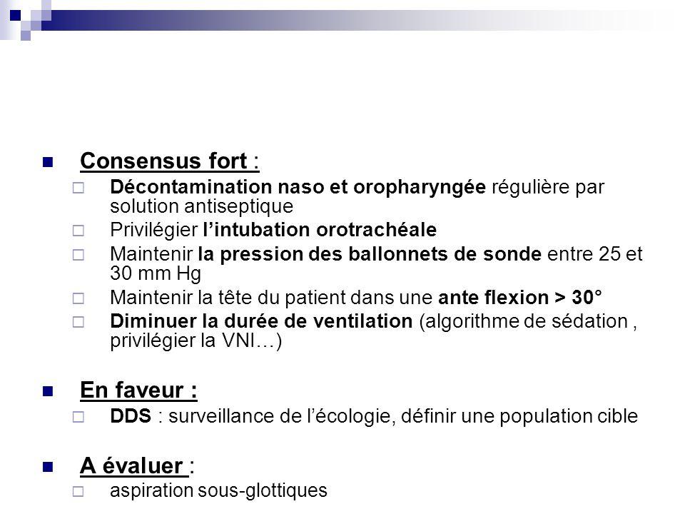 Consensus fort : Décontamination naso et oropharyngée régulière par solution antiseptique Privilégier lintubation orotrachéale Maintenir la pression d