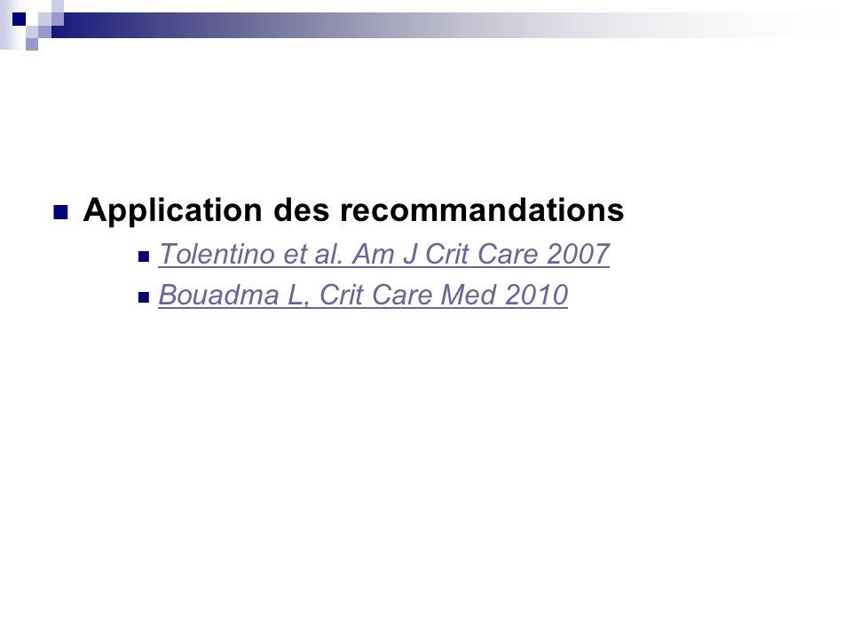 Application des recommandations Tolentino et al. Am J Crit Care 2007 Bouadma L, Crit Care Med 2010