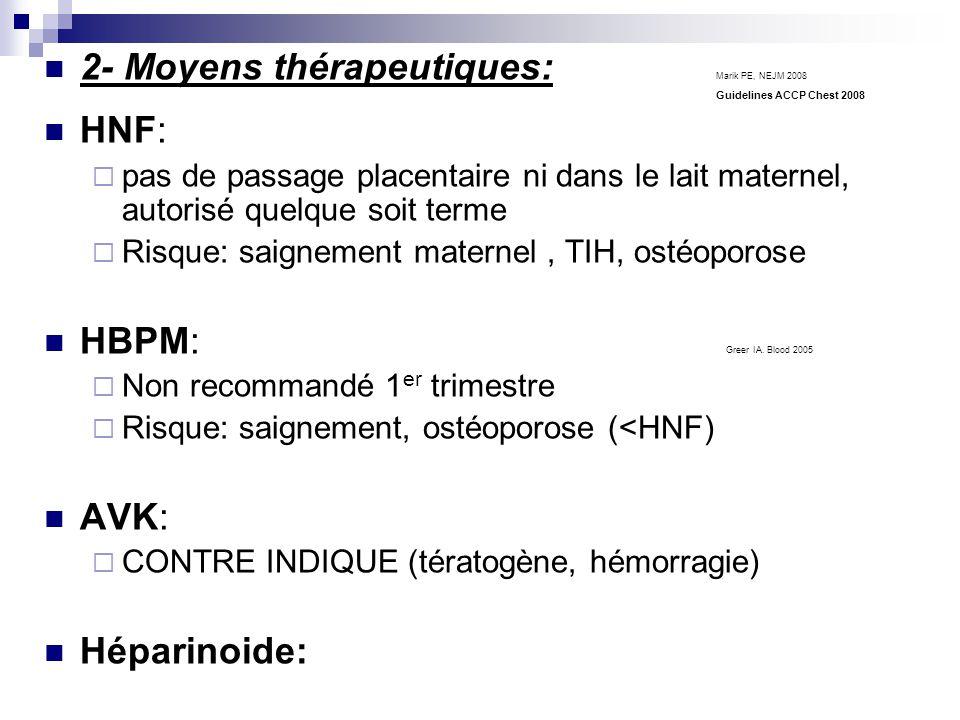 2- Moyens thérapeutiques: Marik PE, NEJM 2008 Guidelines ACCP Chest 2008 HNF: pas de passage placentaire ni dans le lait maternel, autorisé quelque soit terme Risque: saignement maternel, TIH, ostéoporose HBPM: Greer IA.