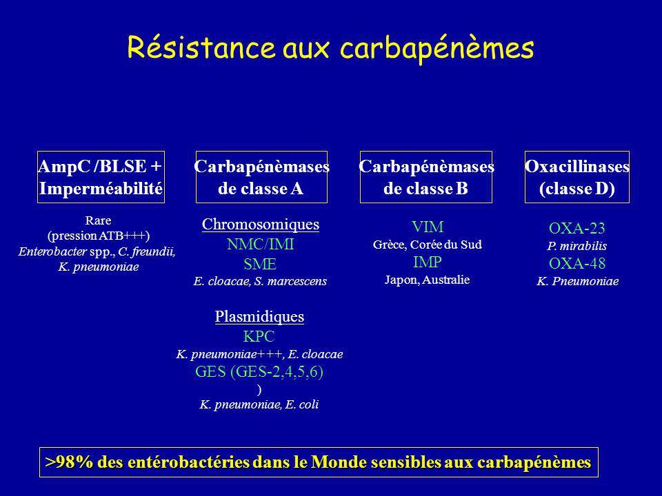 Résistance aux carbapénèmes AmpC /BLSE + Imperméabilité Carbapénèmases de classe A Carbapénèmases de classe B Oxacillinases (classe D) Chromosomiques