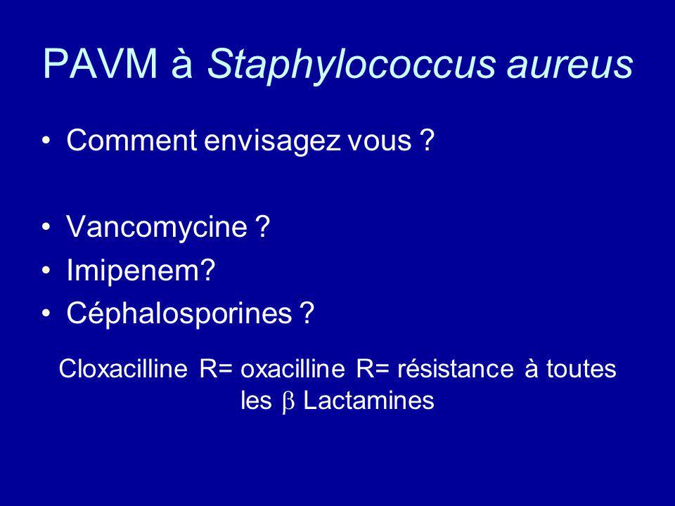 PAVM à Staphylococcus aureus Comment envisagez vous ? Vancomycine ? Imipenem? Céphalosporines ? Cloxacilline R= oxacilline R= résistance à toutes les