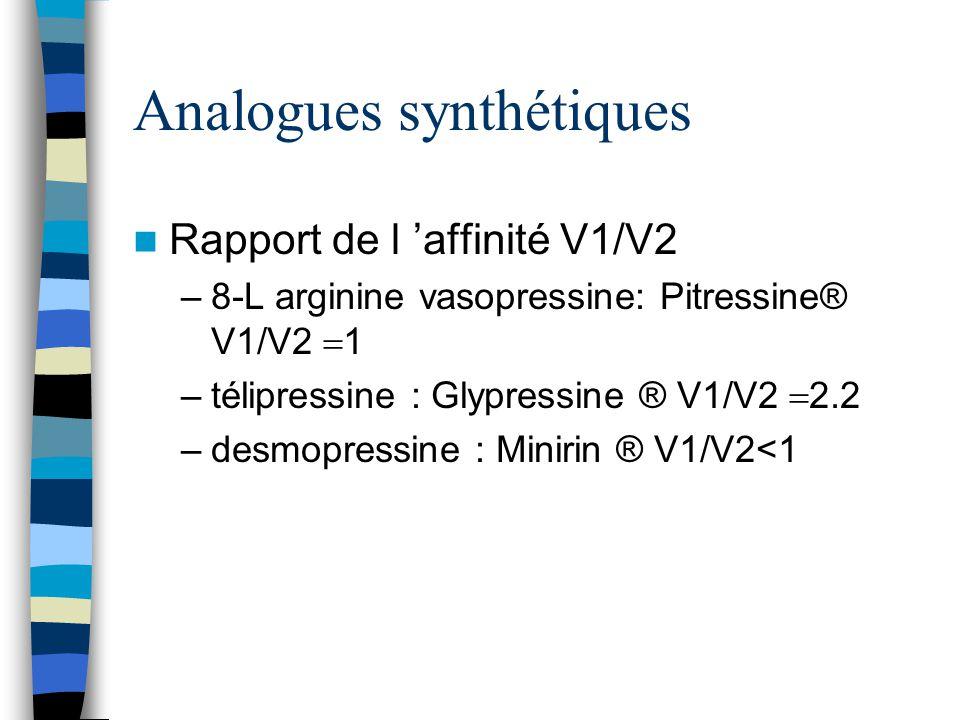 Analogues synthétiques Rapport de l affinité V1/V2 –8-L arginine vasopressine: Pitressine® V1/V2 1 –télipressine : Glypressine ® V1/V2 2.2 –desmopress