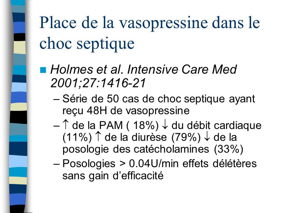 Holmes et al. Intensive Care Med 2001;27:1416-21 –Série de 50 cas de choc septique ayant reçu 48H de vasopressine – de la PAM ( 18%) du débit cardiaqu