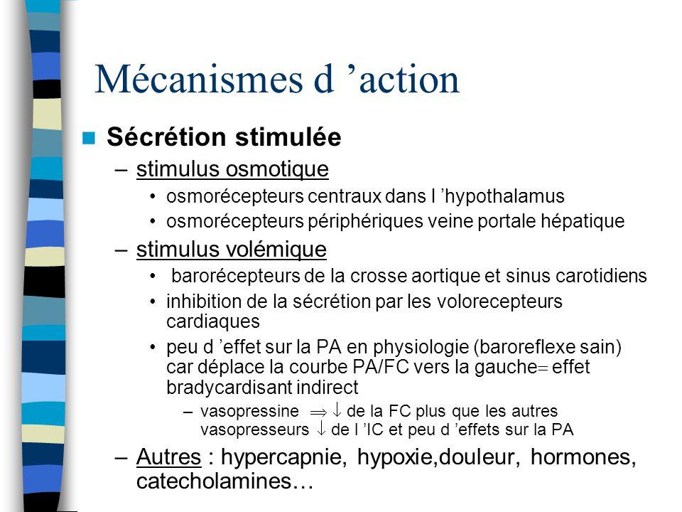 Mécanismes d action Récepteur V1 –Cellules musculaires lisses des vx, reins, myomètre, rate, vésicule, testicule, plaquettes, adipocytes, hépatocytes –Vasoconstriction hétérogène sur le plan topographique peau, muscle strié, tissu adipeux, thyroïde,pancréas artères mésentériques et coronaires (effet discuté dans les conditions physiologiques et en état de choc) –à dose supra-physiologique: anti-aggrégant plaquettaire