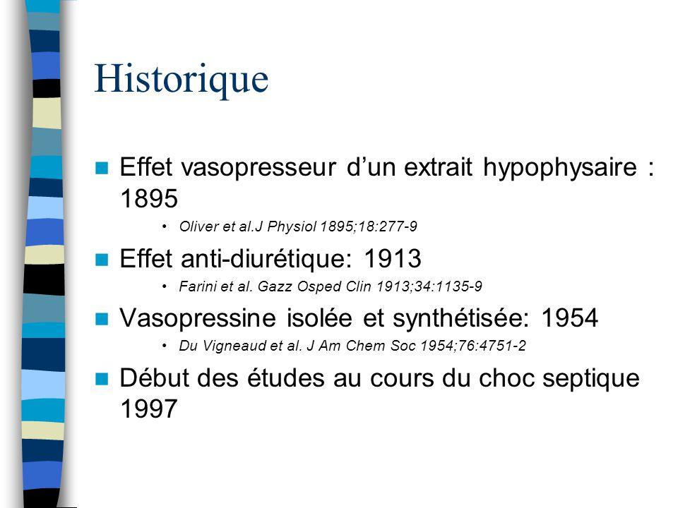 Historique Effet vasopresseur dun extrait hypophysaire : 1895 Oliver et al.J Physiol 1895;18:277-9 Effet anti-diurétique: 1913 Farini et al. Gazz Ospe