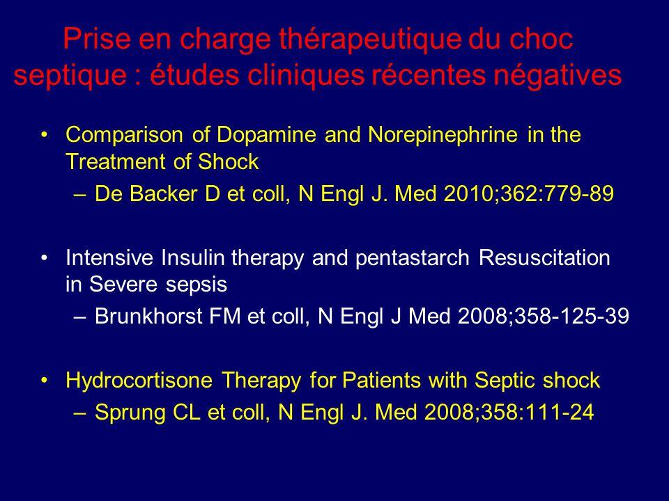 Prise en charge thérapeutique du choc septique : études cliniques récentes négatives Comparison of Dopamine and Norepinephrine in the Treatment of Sho