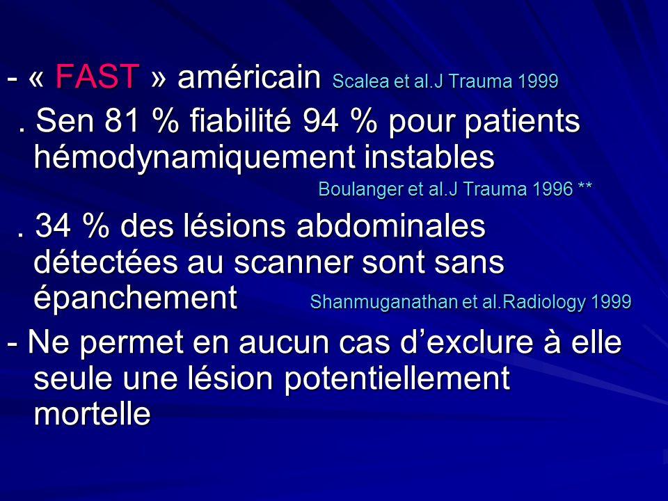 - « FAST » américain Scalea et al.J Trauma 1999. Sen 81 % fiabilité 94 % pour patients hémodynamiquement instables. Sen 81 % fiabilité 94 % pour patie