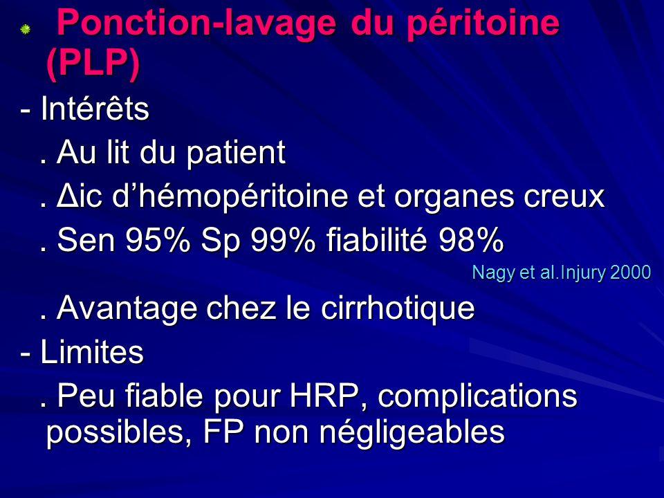 Ponction-lavage du péritoine (PLP) Ponction-lavage du péritoine (PLP) - Intérêts. Au lit du patient. Au lit du patient. Δic dhémopéritoine et organes