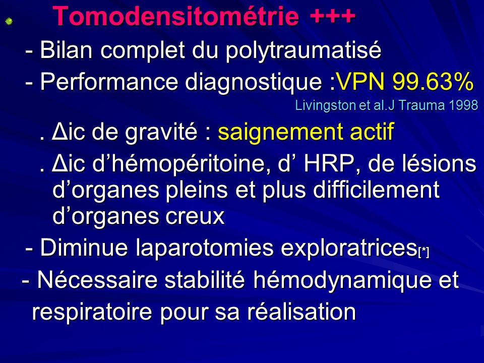 Tomodensitométrie +++ - Bilan complet du polytraumatisé - Bilan complet du polytraumatisé - Performance diagnostique :VPN 99.63% - Performance diagnos