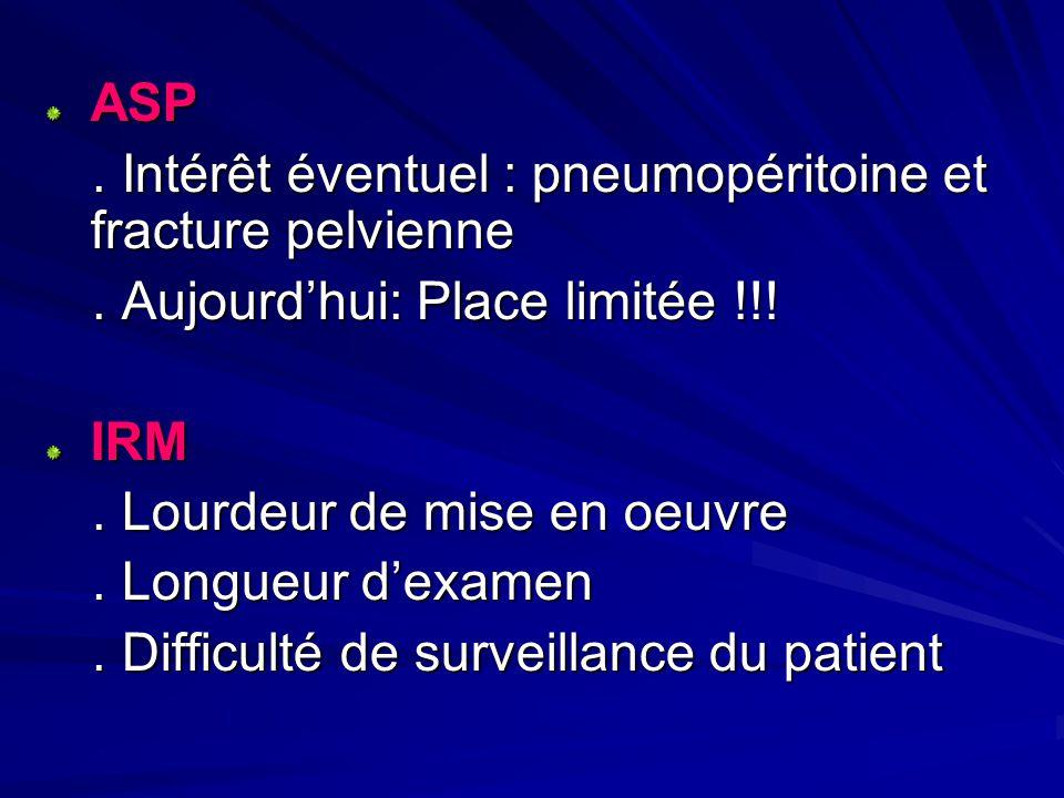 ASP. Intérêt éventuel : pneumopéritoine et fracture pelvienne. Intérêt éventuel : pneumopéritoine et fracture pelvienne. Aujourdhui: Place limitée !!!