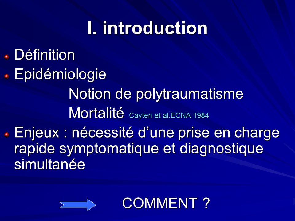 I. introduction DéfinitionEpidémiologie Notion de polytraumatisme Notion de polytraumatisme Mortalité Cayten et al.ECNA 1984 Mortalité Cayten et al.EC