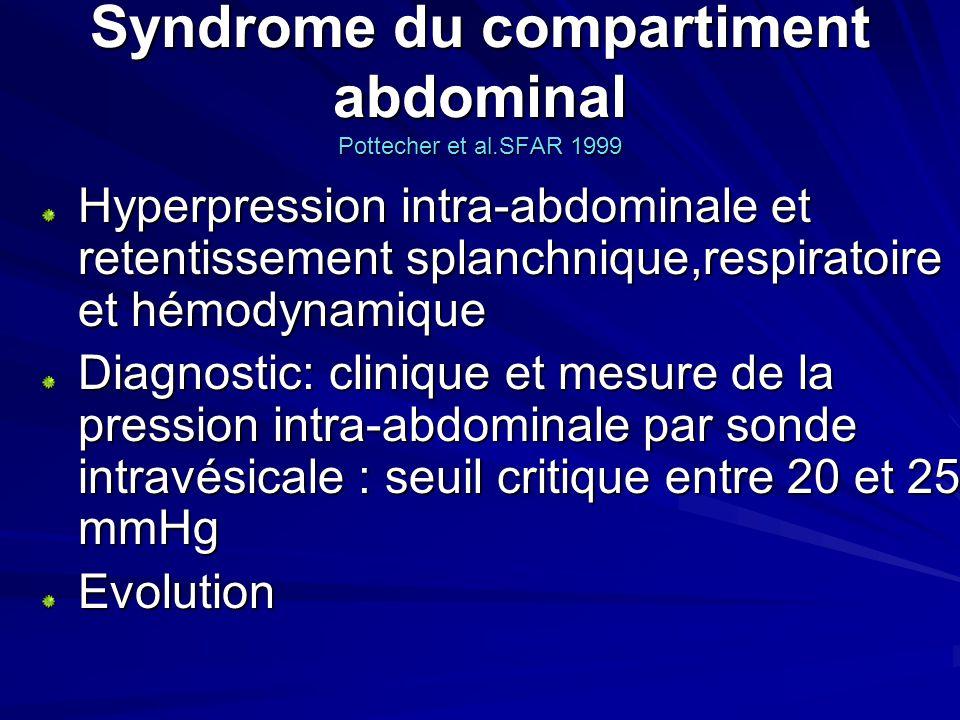 Syndrome du compartiment abdominal Pottecher et al.SFAR 1999 Hyperpression intra-abdominale et retentissement splanchnique,respiratoire et hémodynamiq