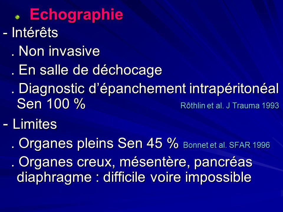 Echographie Echographie - Intérêts. Non invasive. Non invasive. En salle de déchocage. En salle de déchocage. Diagnostic dépanchement intrapéritonéal