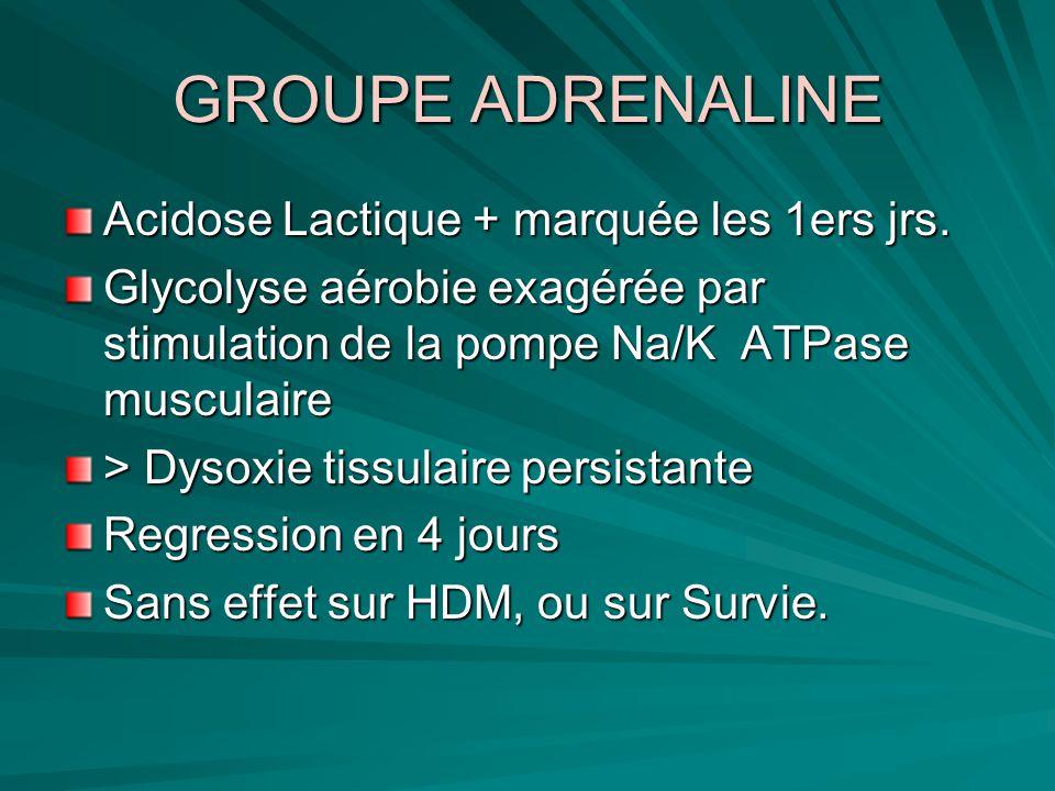GROUPE ADRENALINE Acidose Lactique + marquée les 1ers jrs. Glycolyse aérobie exagérée par stimulation de la pompe Na/K ATPase musculaire > Dysoxie tis