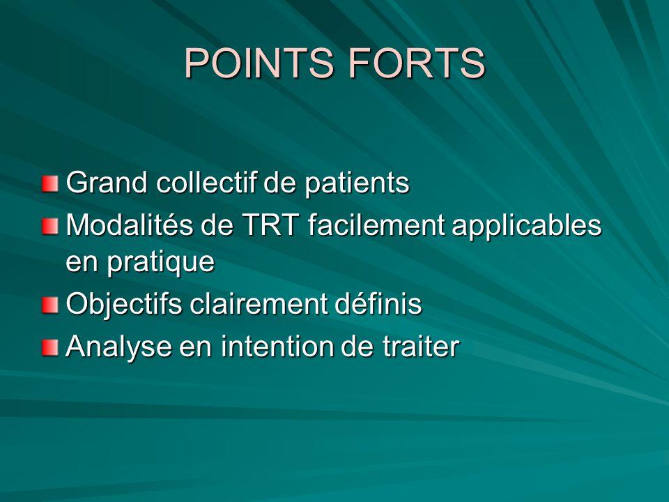 POINTS FORTS Grand collectif de patients Modalités de TRT facilement applicables en pratique Objectifs clairement définis Analyse en intention de trai
