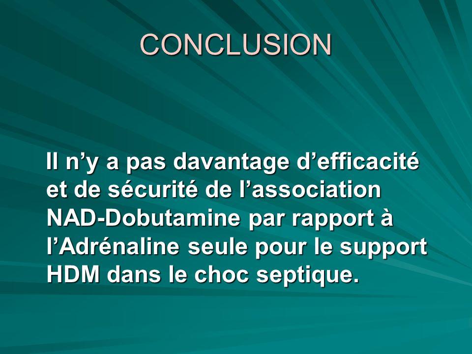 CONCLUSION Il ny a pas davantage defficacité et de sécurité de lassociation NAD-Dobutamine par rapport à lAdrénaline seule pour le support HDM dans le