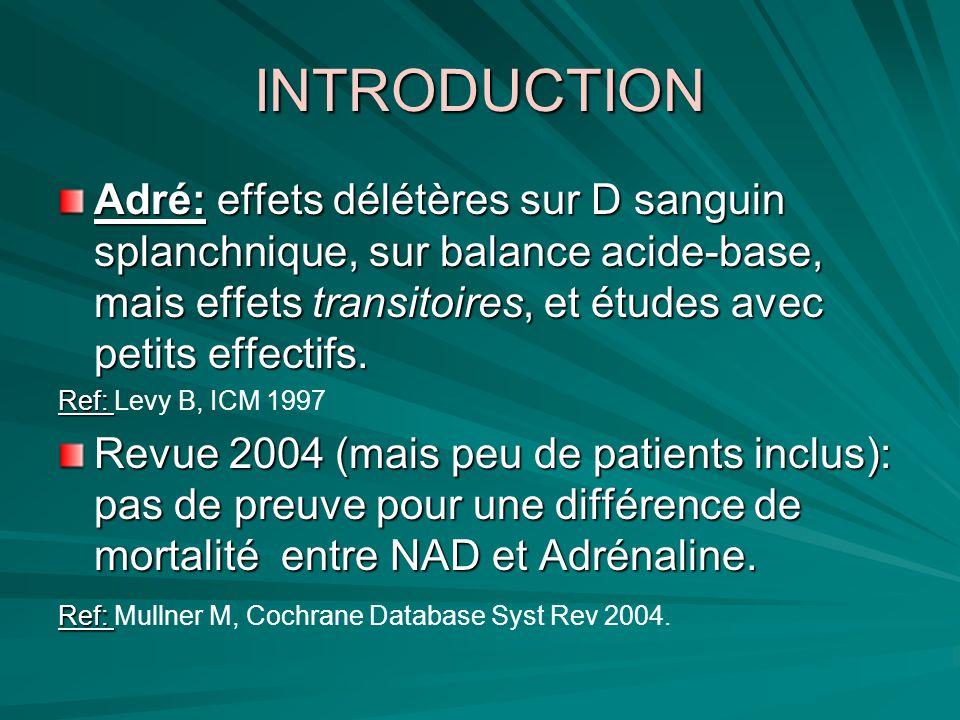 OBJECTIFS DE LETUDE Il y-a-t-il une différence de sécurité et defficacité entre Adrénaline seule ou association NAD- Dobutamine au cours du choc septique.