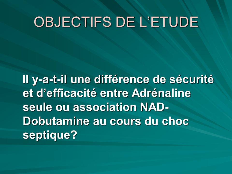 OBJECTIFS DE LETUDE Il y-a-t-il une différence de sécurité et defficacité entre Adrénaline seule ou association NAD- Dobutamine au cours du choc septi