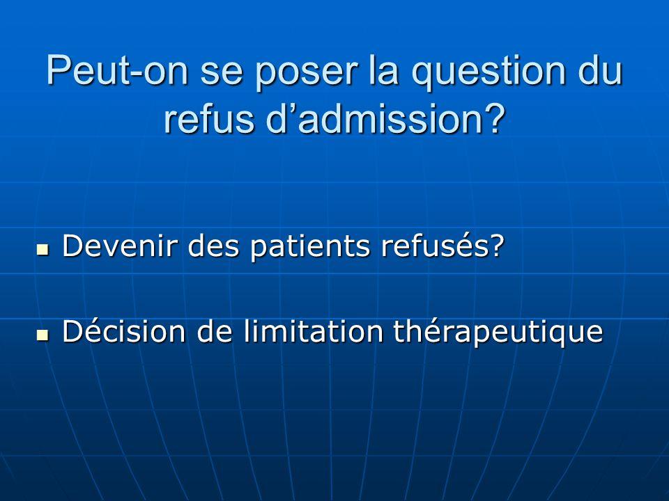 Peut-on se poser la question du refus dadmission? Devenir des patients refusés? Devenir des patients refusés? Décision de limitation thérapeutique Déc