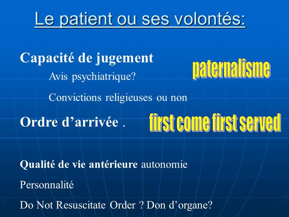 Le patient ou ses volontés: Capacité de jugement Avis psychiatrique? Convictions religieuses ou non Ordre darrivée. Qualité de vie antérieure autonomi