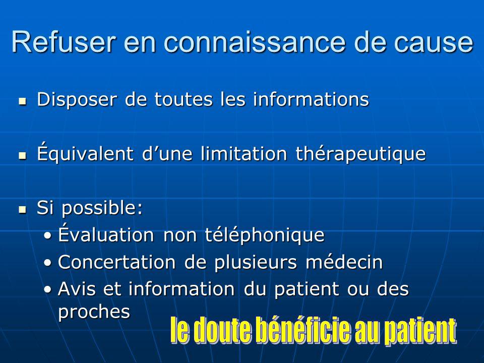 Refuser en connaissance de cause Disposer de toutes les informations Disposer de toutes les informations Équivalent dune limitation thérapeutique Équi