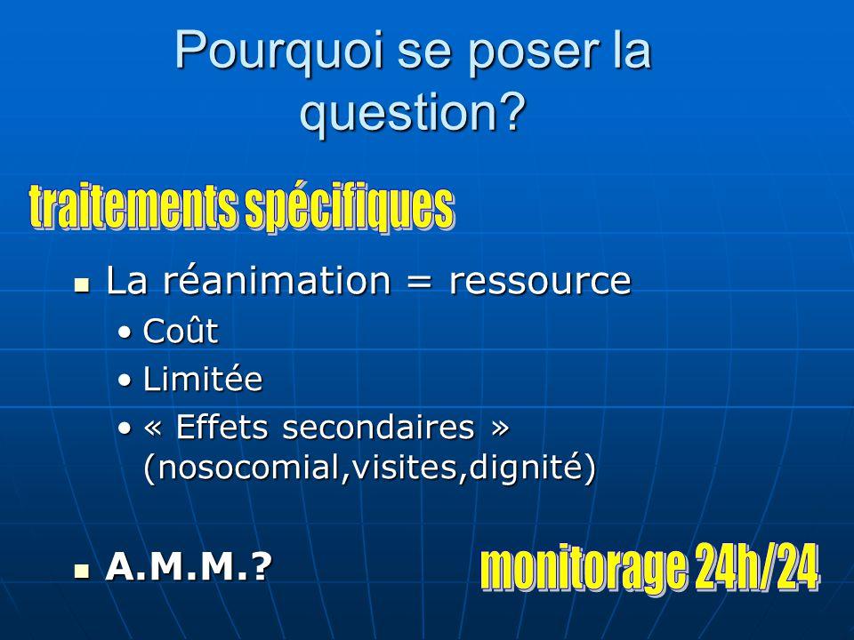 Le coût de la réanimation 5 % des séjours mais 12 % des budgets des hôpitaux publics français.