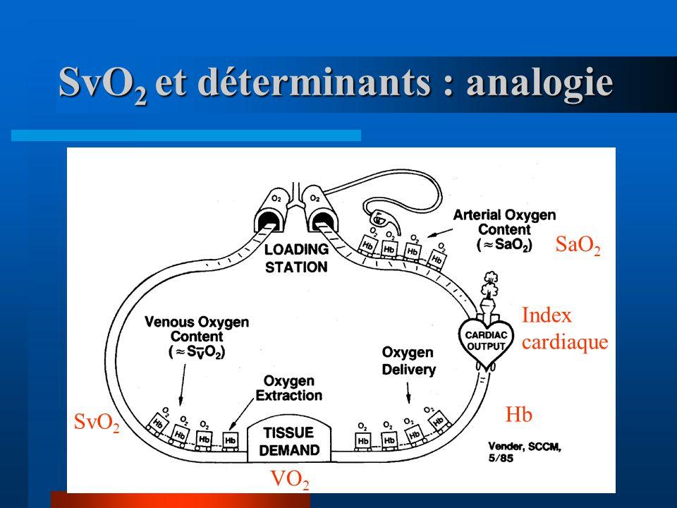 SvO 2 et déterminants : analogie Index cardiaque SaO 2 VO 2 Hb SvO 2
