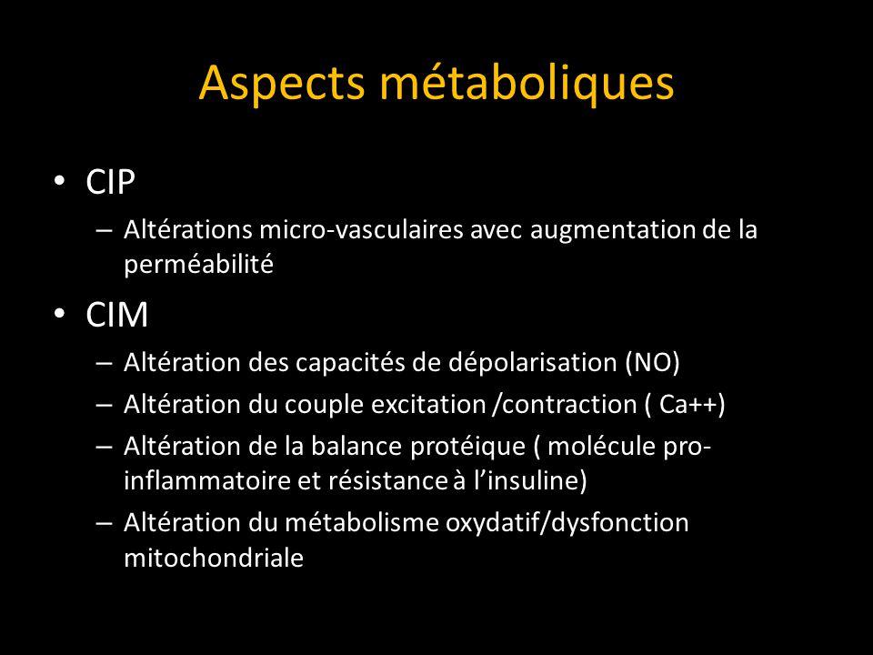 Aspects métaboliques CIP – Altérations micro-vasculaires avec augmentation de la perméabilité CIM – Altération des capacités de dépolarisation (NO) – Altération du couple excitation /contraction ( Ca++) – Altération de la balance protéique ( molécule pro- inflammatoire et résistance à linsuline) – Altération du métabolisme oxydatif/dysfonction mitochondriale