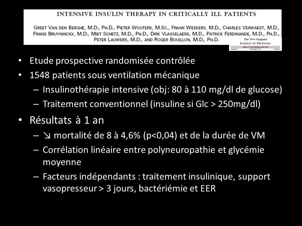 Etude prospective randomisée contrôlée 1548 patients sous ventilation mécanique – Insulinothérapie intensive (obj: 80 à 110 mg/dl de glucose) – Traitement conventionnel (insuline si Glc > 250mg/dl) Résultats à 1 an – mortalité de 8 à 4,6% (p<0,04) et de la durée de VM – Corrélation linéaire entre polyneuropathie et glycémie moyenne – Facteurs indépendants : traitement insulinique, support vasopresseur > 3 jours, bactériémie et EER