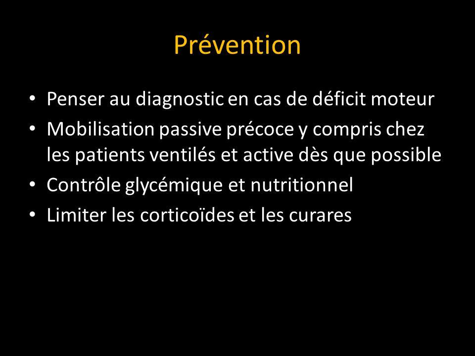 Prévention Penser au diagnostic en cas de déficit moteur Mobilisation passive précoce y compris chez les patients ventilés et active dès que possible Contrôle glycémique et nutritionnel Limiter les corticoïdes et les curares