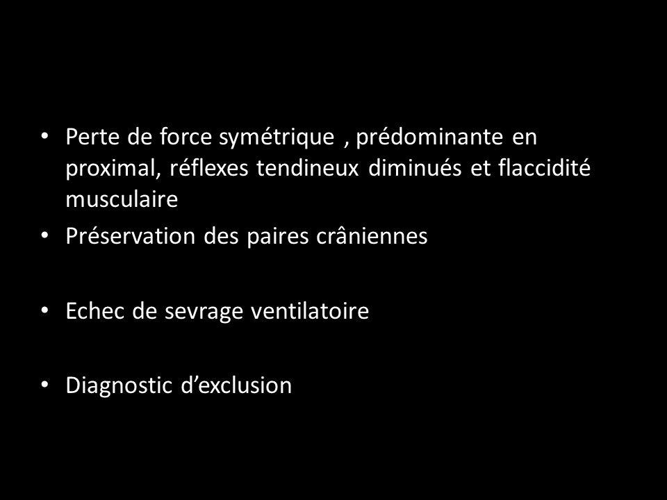 Perte de force symétrique, prédominante en proximal, réflexes tendineux diminués et flaccidité musculaire Préservation des paires crâniennes Echec de sevrage ventilatoire Diagnostic dexclusion