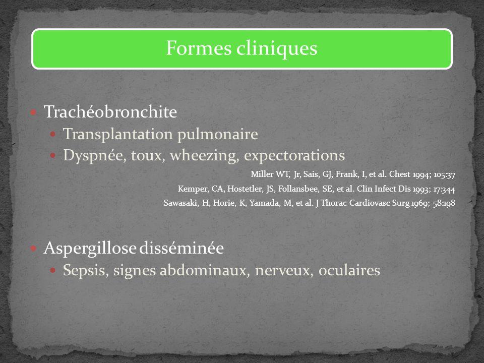 Trachéobronchite Transplantation pulmonaire Dyspnée, toux, wheezing, expectorations Miller WT, Jr, Sais, GJ, Frank, I, et al. Chest 1994; 105:37 Kempe