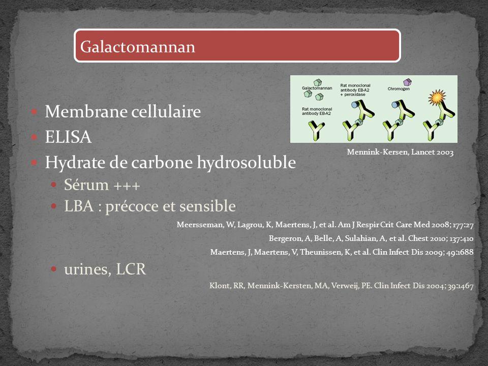 Membrane cellulaire ELISA Hydrate de carbone hydrosoluble Sérum +++ LBA : précoce et sensible Meersseman, W, Lagrou, K, Maertens, J, et al. Am J Respi