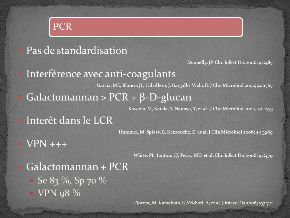 Pas de standardisation Donnelly, JP. Clin Infect Dis 2006; 42:487 Interférence avec anti-coagulants García, ME, Blanco, JL, Caballero, J, Gargallo-Vio