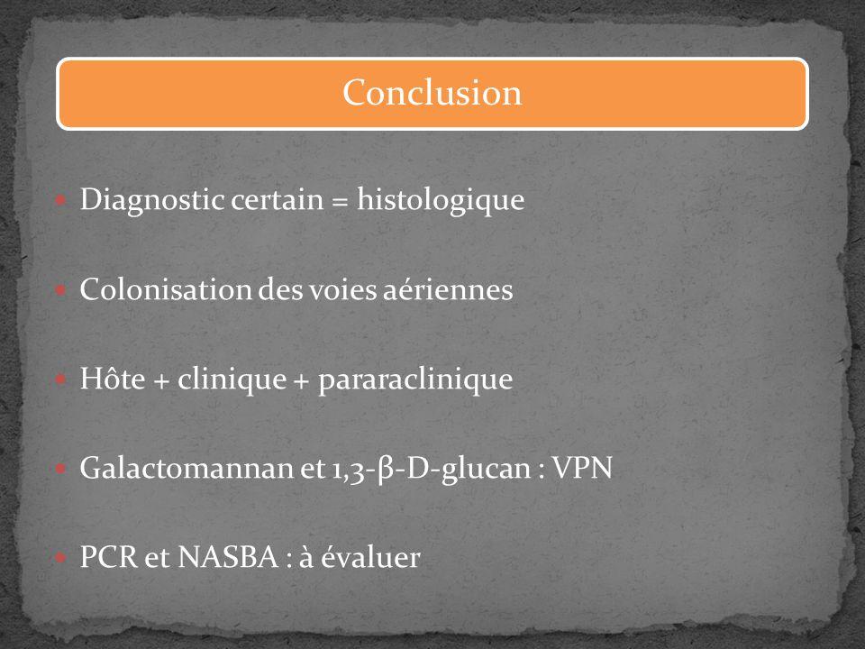Diagnostic certain = histologique Colonisation des voies aériennes Hôte + clinique + pararaclinique Galactomannan et 1,3-β-D-glucan : VPN PCR et NASBA
