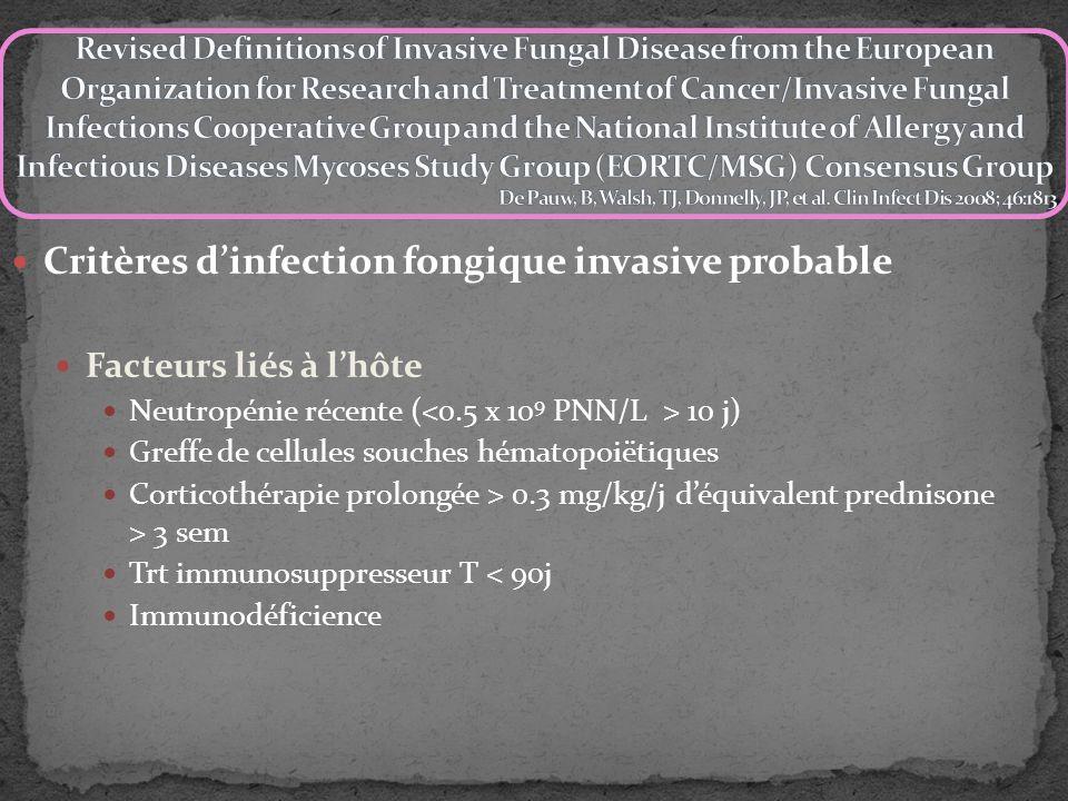 Critères dinfection fongique invasive probable Facteurs liés à lhôte Neutropénie récente ( 10 j) Greffe de cellules souches hématopoiëtiques Corticoth