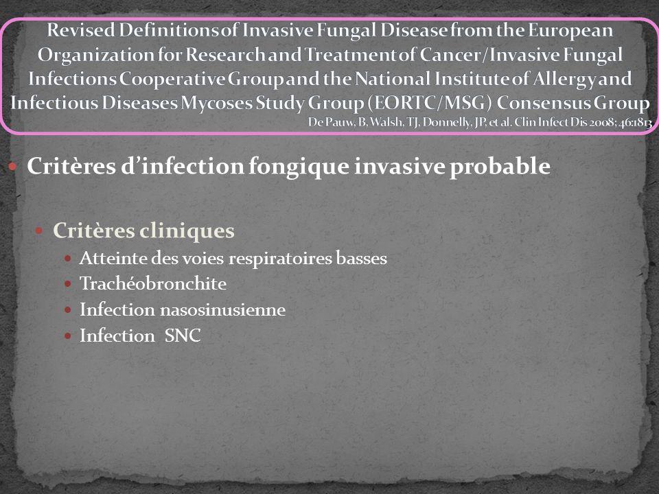 Critères dinfection fongique invasive probable Critères mycologiques Test direct (cytologie, microscopie, ou culture) : Champignons dans expectorations, LBA, prélèvement bronchique ou aspiration sinusienne.