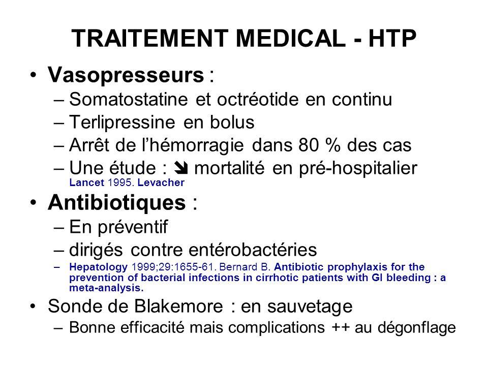 TRAITEMENT MEDICAL - HTP Vasopresseurs : –Somatostatine et octréotide en continu –Terlipressine en bolus –Arrêt de lhémorragie dans 80 % des cas –Une