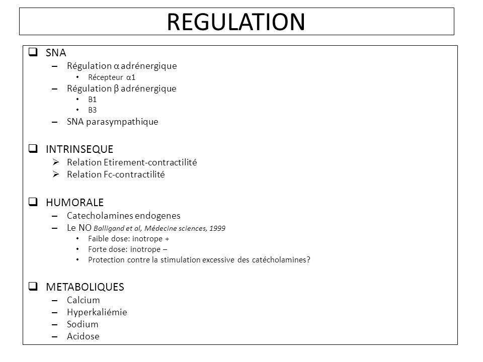 REGULATION SNA – Régulation α adrénergique Récepteur α1 – Régulation β adrénergique Β1 Β3 – SNA parasympathique INTRINSEQUE Relation Etirement-contractilité Relation Fc-contractilité HUMORALE – Catecholamines endogenes – Le NO Balligand et al, Médecine sciences, 1999 Faible dose: inotrope + Forte dose: inotrope – Protection contre la stimulation excessive des catécholamines.