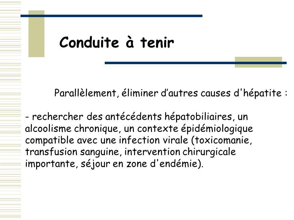 Parallèlement, éliminer dautres causes d'hépatite : - rechercher des antécédents hépatobiliaires, un alcoolisme chronique, un contexte épidémiologique