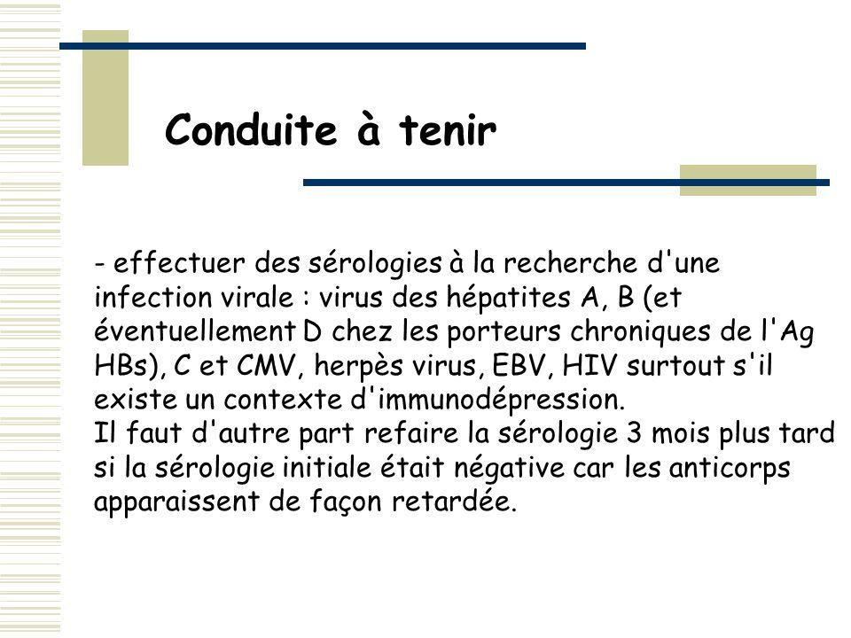- effectuer des sérologies à la recherche d'une infection virale : virus des hépatites A, B (et éventuellement D chez les porteurs chroniques de l'Ag